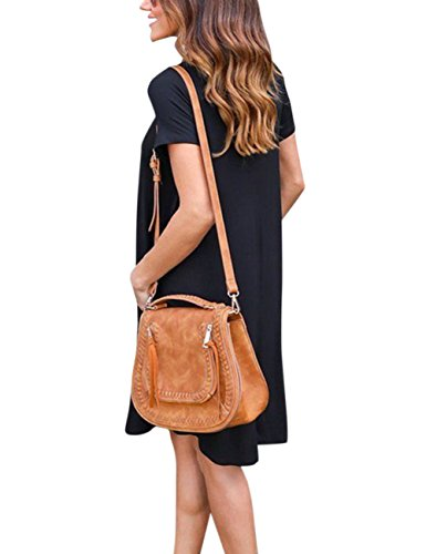 Simple Skirt Dress Alician Short Black Sleeve Fashion V Casual Neck Loose Women 4ZEwZS