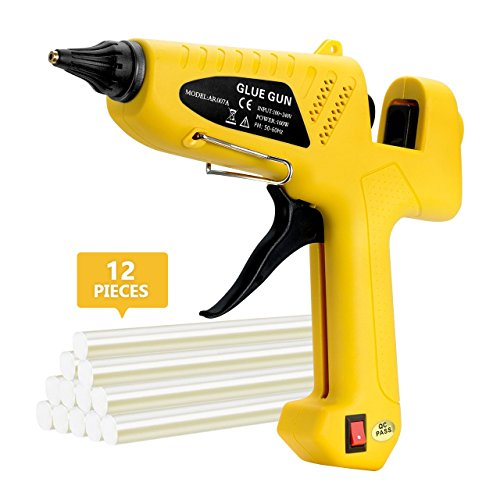 Glue Gun, TopElek 100W Full Size (Not Mini) Glue Gun Kit with 12PCS Glue Sticks, Rapid Heating Industrial Hot Melt Glue Gun for Factory, Home Decorations and Repair, DIY Arts and Crafts Projects by TopElek