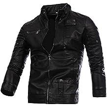 GREFER Clearance! New Men Leather Jacket Autumn&Winter Biker Motorcycle Zipper Outwear Warm Coat