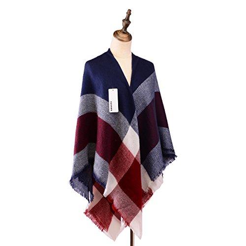 Women's Classic Plaid Tartan Grids Scarf Pashmina Blanket Winter Wraps Shawl (blue red)