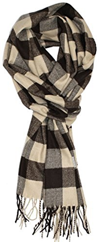 Classic Luxurious Soft Cashmere Feel Unisex Winter Scarf in Checks and Plaid (Buffalo Plaid Brown-Tan)