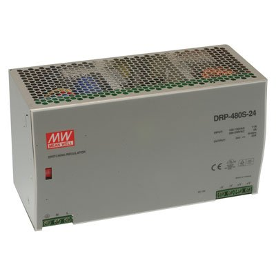 "Mean Well DRP-480S-48 AC to DC DIN-Rail Switching Power Supply, 48VDC, 10A, 480W, 8.9"" x 3.9"" x 4.9"" Size"