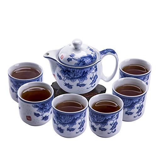 ufengke 7 Piezas Juego de Te Chino Kung Fu,Juego de Te de Porcelana Azul y Blanca para Kungfu,