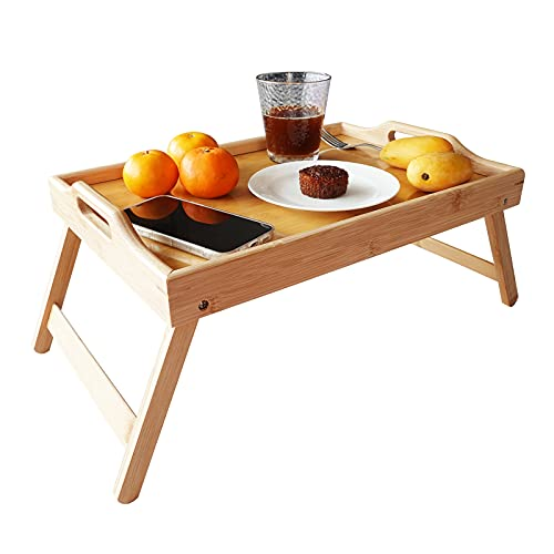 NCOZWO Bamboo Bed Tray Table,Foldable Legs, Breakfast Tray for Sofa,Working, Bed, Eating,Use for Laptop Desk Wood Snack Tray