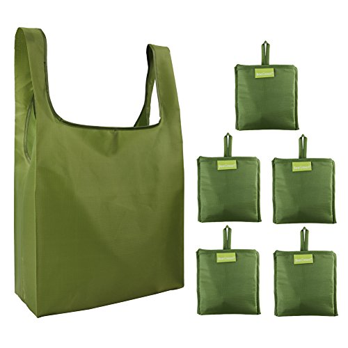 Reusable Grocery Bags Moss Green 5 Pack , Grocery Tote Foldable into Attached Pouch, Ripstop Polyester Reusable Shopping Bags, Washable, Durable and (Large Polyester Tote Bag)