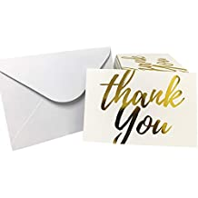 """Gold Foil Thank You Postcards - 6 x 4"""", Pack of 100"""