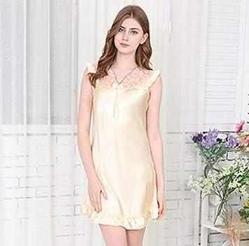 GZZ Inicio Hotel Albornoz Pijamas de Seda para Mujer Falda para Dormir Sexy de Primavera y