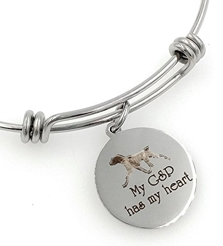 My GSP, German Shorthaired Pointer Has My Heart Engraved Expandable Bangle - Pointer German Jewelry Shorthaired