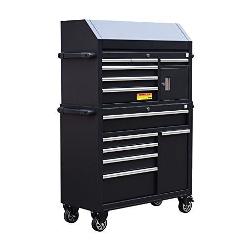HomCom Heavy Duty Rolling Steel 11 Drawer Mechanics Tool Chest Cart Drawer Heavy Duty Tool Cart