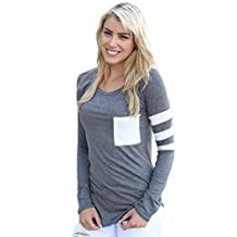 Changeshopping Womens Long Sleeve Round Neck Splice Shirt Blouse Tops