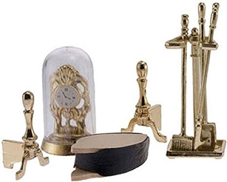 Dollhouse Miniature Set of Brass Fireplace Tools by International Miniatures