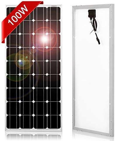 DOKIO 100 Watt Solar Panel Monocrystalline to Charge 12v Battery for Home Rv