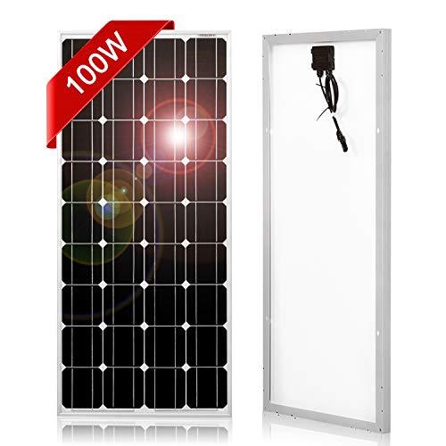 DOKIO 100 Watt Solar Panel Monocrystalline to Charge 12v Battery for Home Rv (Best Solar Panel To Charge 12v Battery)