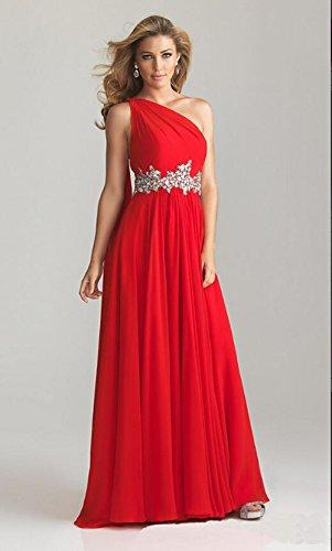 Red Schulter A Kristall Partei Eine formal Elegant Lange Berühmtheit Ballkleider Chiffon CoCogirls Line Kleider Abendkleid xXp1Yq