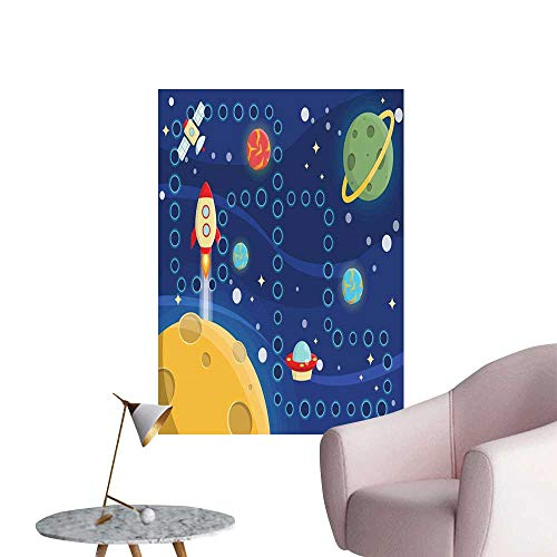 (Alexandear Kids Activity Scenery Wall Sticker Colorful Space Themed Activity Board Interplanetary Travel Racing in Cosmos Creative Self-Adhesive Multicolor W32 x)