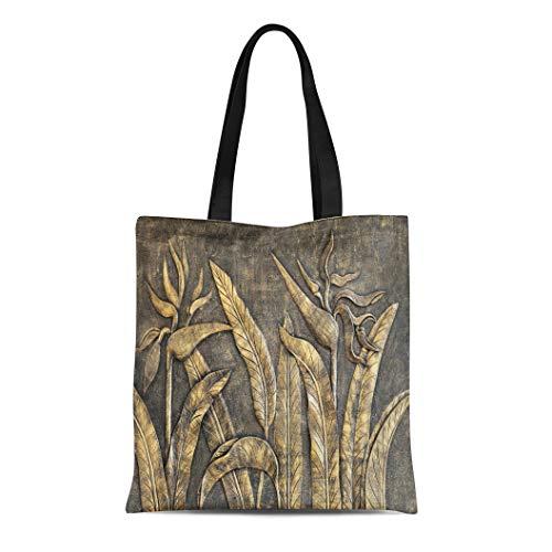 Semtomn Canvas Tote Bag Shoulder Bags Granite Stone the Sculpture of Bird Paradise on Wall Women's Handle Shoulder Tote Shopper Handbag