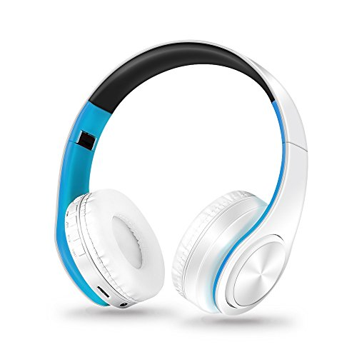 Amaping Wireless Bluetooth Foldable Headset Stereo Headphone Gaming Headset - Noise Cancelling Over Ear Headphones with Mic - Bass Surround for PS4 PC Phone for PUBG (Blue)