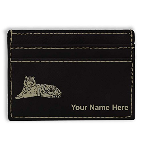 Money Clip Wallet, Tiger, Personalized Engraving Included (Black) Tigers Leather Money Clip