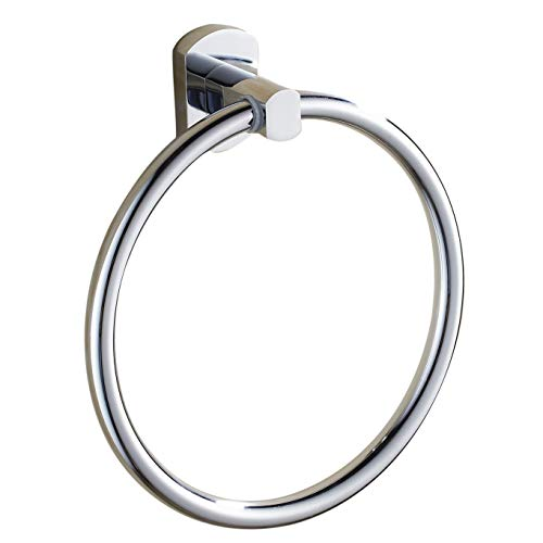 (Estrend 6 Inch Stainless Steel Towel Ring Heavy Duty Brass Pedestal Wall Mounted Towel Holder Polished Chrome Oblong Pedestal)
