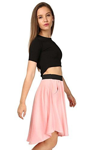 48813f25222 Womens Casual Dip Hem Back Pocket Hi Lo Scuba Swing Flared Soft Midi Length  Knee Stretchy Party Skater Skirt UK Plus Sizes 8-26  Amazon.co.uk  Clothing