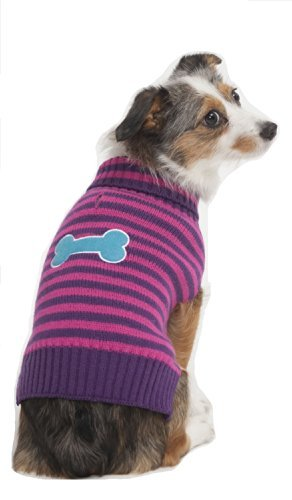 Fashion Pet Bone Patch (Fashion Pet Striped Bone Patch Dog Sweater, Small, Pink by Fashion)