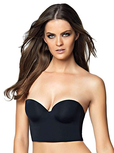 Felina Women's Essentials Longline Strapless Convertible Bra, Black, 36D (Longline Convertible Bra)