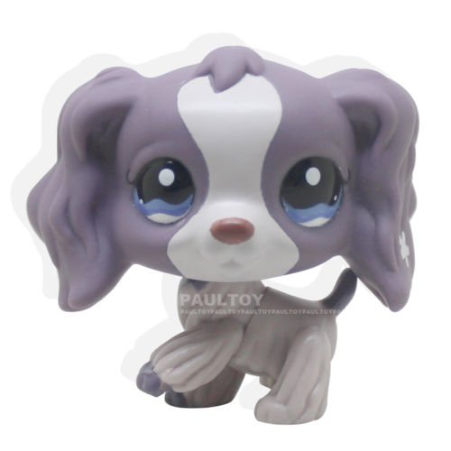 Rare Littlest Pet Shop Purple Cocker Spaniel Dog Puppy Blue Eyes LPS #1209 Toy -