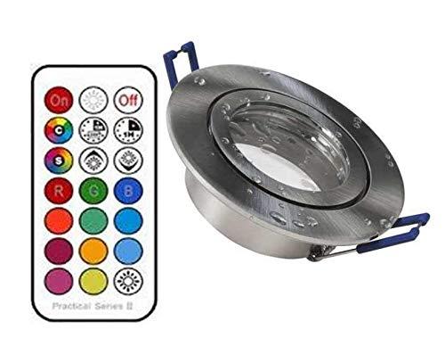 5xLed Feuchtraum Einbaustrahler eisengebürstet+RGB Led + kaltweiß dimmbar mit Timer, memorie Funktion und Fernbedienung 230V