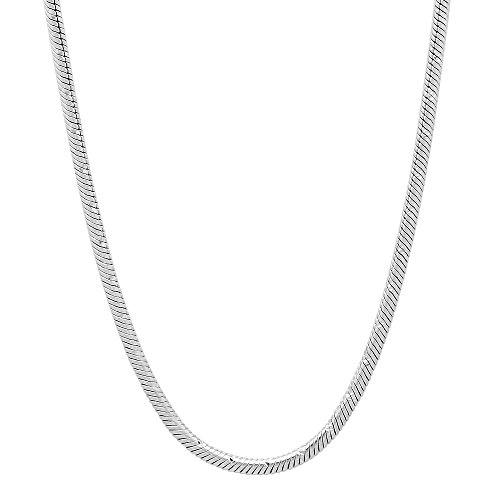 The Bling Factory 2mm Diamond-Cut 0.25 mils (6 microns) Rhodium Plated Round Snake Chain Necklace, 24 inches + Jewelry Cloth & Pouch