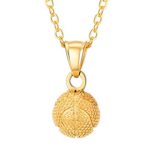 (PROSTEEL Gold Basketball Charm Necklace 18K Plated Pendant & Chain Sport Jewelry Men Women Girl Lady Lovers Players Gift for Mom)