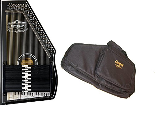 Oscar Schmidt 1930's Original Design Autoharp & Gig Bag, 15 Bar, Black, OS73B-AC445 by Oscar Schmidt