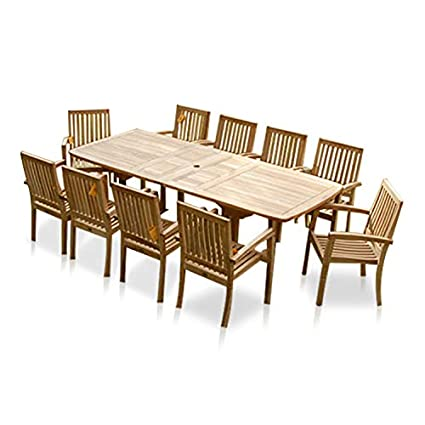 Phenomenal Amazon Com New 11Pc Grade A Teak Outdoor Dining Set 115X40 Uwap Interior Chair Design Uwaporg