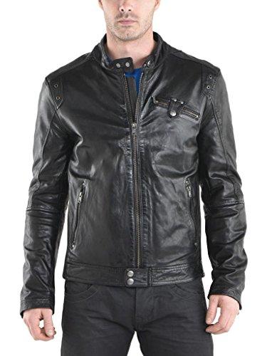 Auk058 Fit In Moto Black Giacca Slim Da Uomo Biker Outwear Giacche Cappotto Pelle Ax8q4P