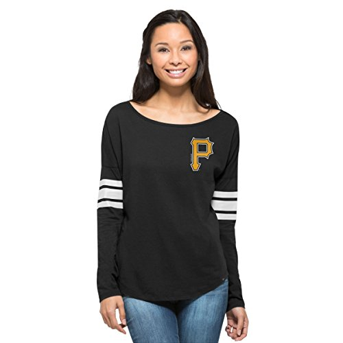 MLB Pittsburgh Pirates Women's '47 Ultra Courtside Long Sleeve Tee, Small, Jet Black