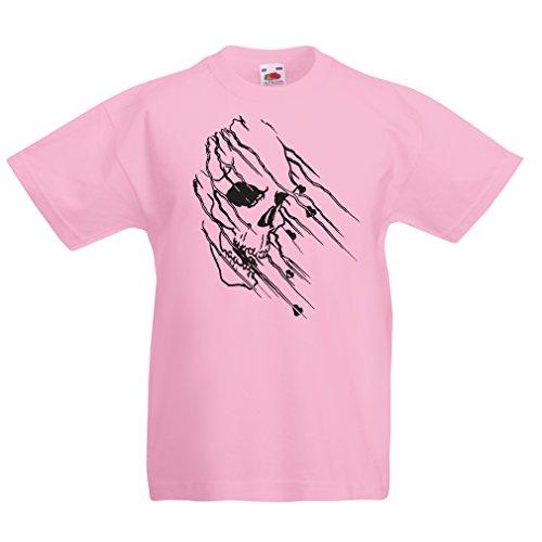 lepni.me Camisas para ninos Art Skull - Vintage t Shirts (12-13 Years Rosado Multicolor)