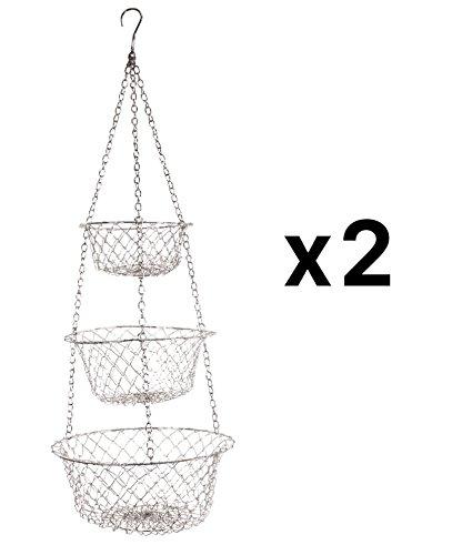 red 3 tier hanging basket - 2