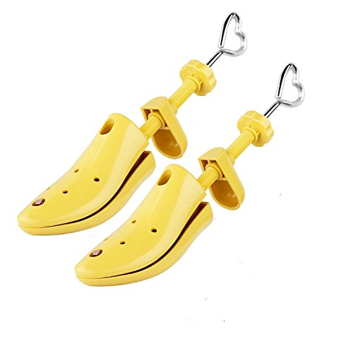 Unisex Pair of Professional 2-Way Shoe Tree Stretcher Adjustable Instep & Length Shoe Shaper for Men and Women (A pair-M:(Men:7.5-12|Women:8.5-12), Yellow)