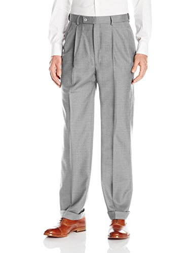 Louis Raphael Luxe Men's 100% Wool Pleated Dress Pant With Hidden extension Waist Band, Light Grey, (Cuffed Dress Pants)