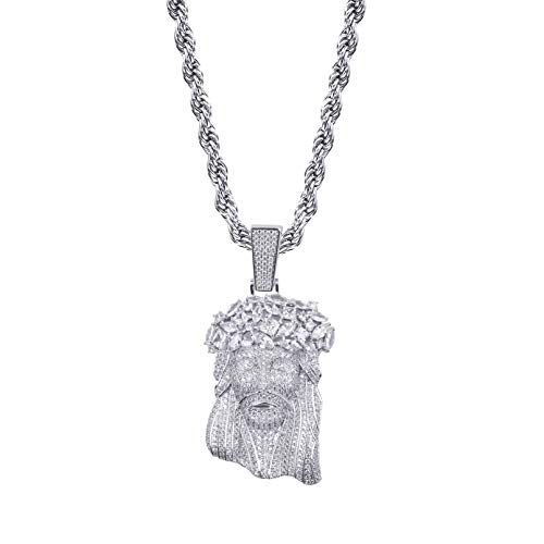 TOPGRILLZ Solid Gold Plated Iced Out Big Baguette Diamonds Jesus Piece Pendant Necklace Chain for Men Hip Hop (White Gold)