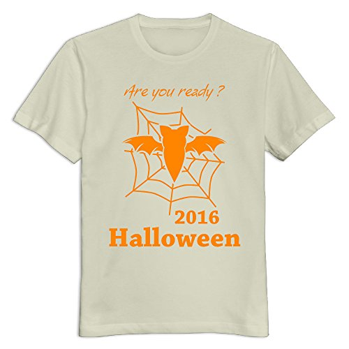 Men's 100% Cotton Happy Halloween Day O Neck T-Shirt Natural US Size XXL]()
