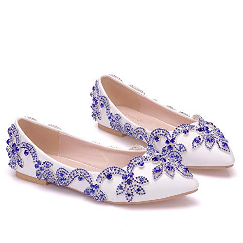 Scarpe D'onore White Damigella Ager Strass On Da Slip Womens Pumps Sposa Satin Balletto 01BJBH Ladies Flower EU40 Piatto q1paxwgnq
