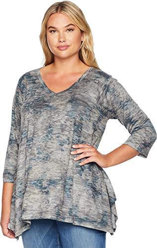 Top Floral Burnout Tunic (Nally & Millie Women's Plus Size Burnout Floral Print Tunic Multi 1X / 2X)