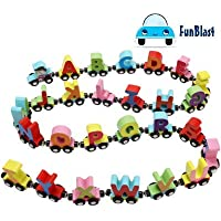FunBlast Wooden Magnetic Alphabet Colorful Train, Educational Model Vehicle Toys, Set of 26 Pcs A to Z, Educational Learning Toys