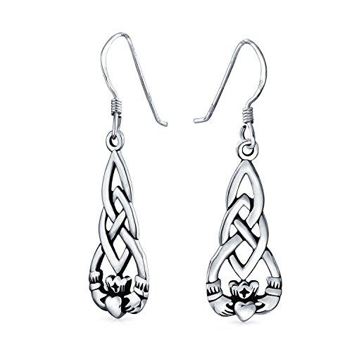 Claddagh Earrings Celtic (Sterling Silver Celtic Knot Claddagh Dangle Earrings)