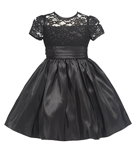 Kids Collection Girl's Elegant Laced Bodice Trimmed Dress-Black-6 (Bodice Laced)