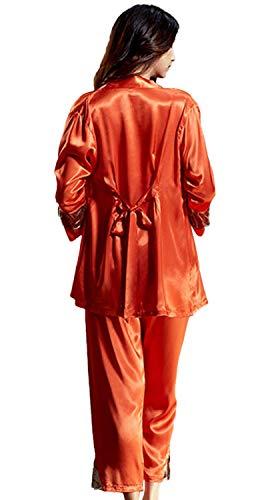 Y Primavera Larga Cómodo Otoño Pijamas De Ropa Suave Las Naranja Mujeres Dormir Manga Camisón F0wHpSfqF