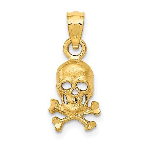 - 14k Yellow Gold Satin Finish Skull And Crossbones Pendant 19x8mm