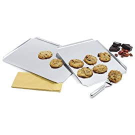 NORPRO Norpro S/S Cookie Baking Sheet 14` X 12`, 1 EA 2 Measures 14 Inch/35.5cm long by 12 Inch/30.5cm wide Made of high quality stainless steel Rim on 3 sides; 1 end open for sliding off baked goods easily