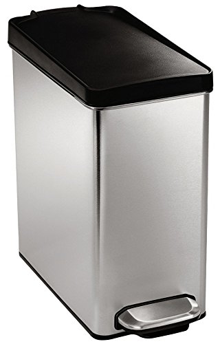 simplehuman Profile Step Trash Can, Stainless Steel, Plastic Lid, 10 L / 2.6 Gal (Pedal Trash Can)