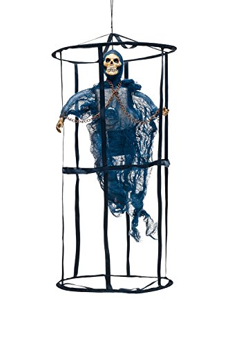Animated Undead Ghost in Death Cage Skeleton Scary Halloween Party Decorations (Blue, (Caras De Esqueletos Halloween)